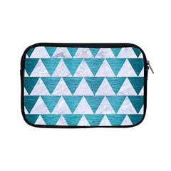 Triangle2 White Marble & Teal Brushed Metal Apple Ipad Mini Zipper Cases by trendistuff