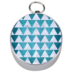 Triangle2 White Marble & Teal Brushed Metal Silver Compasses by trendistuff