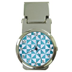 Triangle1 White Marble & Teal Brushed Metal Money Clip Watches by trendistuff