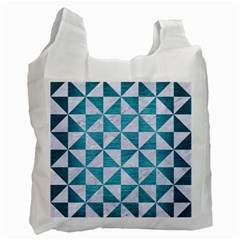 Triangle1 White Marble & Teal Brushed Metal Recycle Bag (one Side) by trendistuff