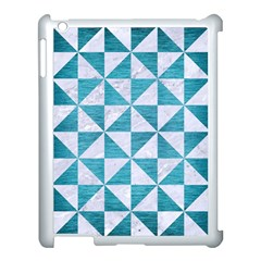 Triangle1 White Marble & Teal Brushed Metal Apple Ipad 3/4 Case (white)