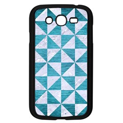 Triangle1 White Marble & Teal Brushed Metal Samsung Galaxy Grand Duos I9082 Case (black) by trendistuff