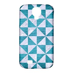 Triangle1 White Marble & Teal Brushed Metal Samsung Galaxy S4 Classic Hardshell Case (pc+silicone) by trendistuff