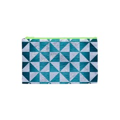 Triangle1 White Marble & Teal Brushed Metal Cosmetic Bag (xs) by trendistuff