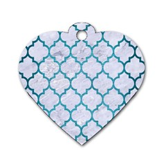 Tile1 White Marble & Teal Brushed Metal (r) Dog Tag Heart (one Side) by trendistuff