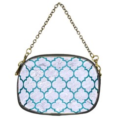 Tile1 White Marble & Teal Brushed Metal (r) Chain Purses (two Sides)  by trendistuff