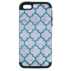 Tile1 White Marble & Teal Brushed Metal (r) Apple Iphone 5 Hardshell Case (pc+silicone) by trendistuff