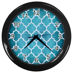 Tile1 White Marble & Teal Brushed Metal Wall Clocks (black) by trendistuff