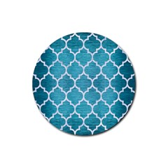 Tile1 White Marble & Teal Brushed Metal Rubber Round Coaster (4 Pack)  by trendistuff