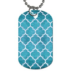Tile1 White Marble & Teal Brushed Metal Dog Tag (one Side) by trendistuff