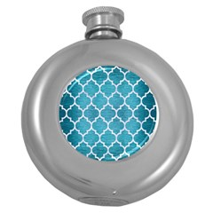 Tile1 White Marble & Teal Brushed Metal Round Hip Flask (5 Oz) by trendistuff