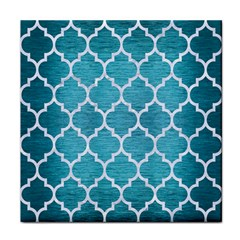 Tile1 White Marble & Teal Brushed Metal Face Towel by trendistuff