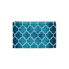 Tile1 White Marble & Teal Brushed Metal Cosmetic Bag (small)  by trendistuff