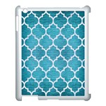 TILE1 WHITE MARBLE & TEAL BRUSHED METAL Apple iPad 3/4 Case (White) Front