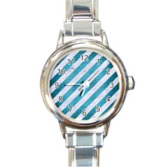 Stripes3 White Marble & Teal Brushed Metal (r) Round Italian Charm Watch