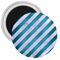 Stripes3 White Marble & Teal Brushed Metal (r) 3  Magnets by trendistuff