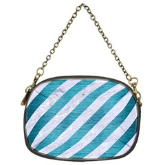 Stripes3 White Marble & Teal Brushed Metal (r) Chain Purses (one Side)  by trendistuff