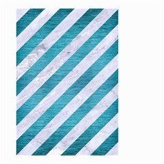 Stripes3 White Marble & Teal Brushed Metal (r) Small Garden Flag (two Sides) by trendistuff