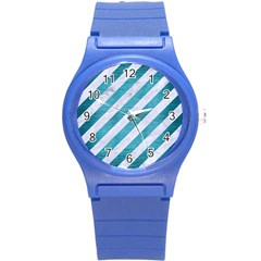 Stripes3 White Marble & Teal Brushed Metal (r) Round Plastic Sport Watch (s) by trendistuff