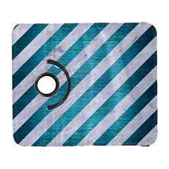 Stripes3 White Marble & Teal Brushed Metal (r) Galaxy S3 (flip/folio) by trendistuff