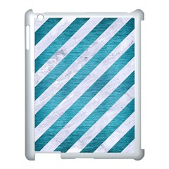 Stripes3 White Marble & Teal Brushed Metal (r) Apple Ipad 3/4 Case (white) by trendistuff
