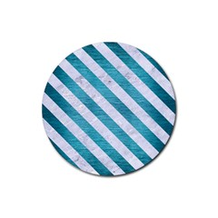 Stripes3 White Marble & Teal Brushed Metal Rubber Coaster (round)