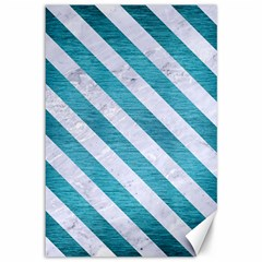 Stripes3 White Marble & Teal Brushed Metal Canvas 12  X 18   by trendistuff