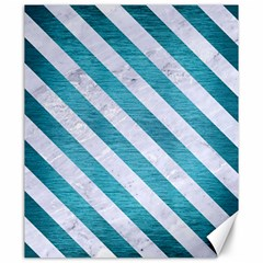 Stripes3 White Marble & Teal Brushed Metal Canvas 20  X 24   by trendistuff