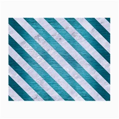 Stripes3 White Marble & Teal Brushed Metal Small Glasses Cloth (2 Side) by trendistuff