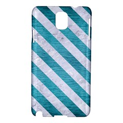 Stripes3 White Marble & Teal Brushed Metal Samsung Galaxy Note 3 N9005 Hardshell Case by trendistuff