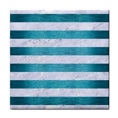 Stripes2white Marble & Teal Brushed Metal Tile Coasters by trendistuff
