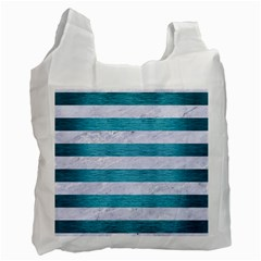 Stripes2white Marble & Teal Brushed Metal Recycle Bag (two Side)  by trendistuff