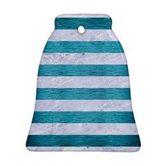 Stripes2white Marble & Teal Brushed Metal Bell Ornament (two Sides) by trendistuff