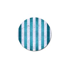 Stripes1 White Marble & Teal Brushed Metal Golf Ball Marker (10 Pack) by trendistuff
