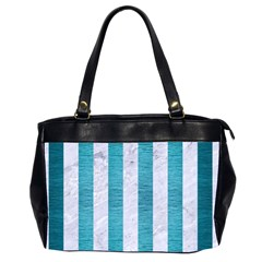 Stripes1 White Marble & Teal Brushed Metal Office Handbags (2 Sides)  by trendistuff
