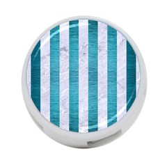 Stripes1 White Marble & Teal Brushed Metal 4 Port Usb Hub (one Side) by trendistuff