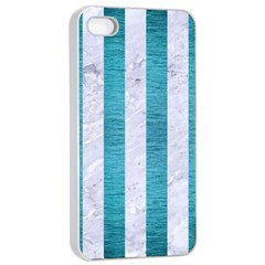 Stripes1 White Marble & Teal Brushed Metal Apple Iphone 4/4s Seamless Case (white)