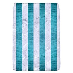 Stripes1 White Marble & Teal Brushed Metal Flap Covers (l)  by trendistuff