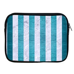 Stripes1 White Marble & Teal Brushed Metal Apple Ipad 2/3/4 Zipper Cases by trendistuff