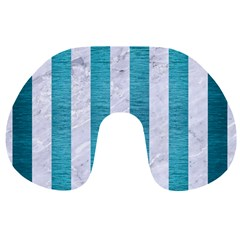 Stripes1 White Marble & Teal Brushed Metal Travel Neck Pillows by trendistuff