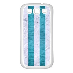 Stripes1 White Marble & Teal Brushed Metal Samsung Galaxy S3 Back Case (white)