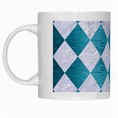 Square2 White Marble & Teal Brushed Metal White Mugs by trendistuff