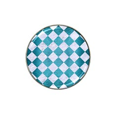Square2 White Marble & Teal Brushed Metal Hat Clip Ball Marker (4 Pack) by trendistuff