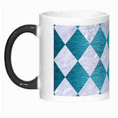 Square2 White Marble & Teal Brushed Metal Morph Mugs by trendistuff