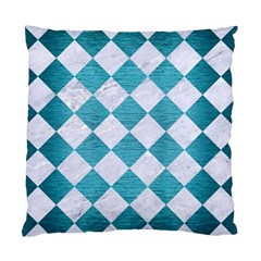 Square2 White Marble & Teal Brushed Metal Standard Cushion Case (one Side) by trendistuff