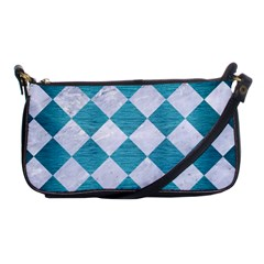 Square2 White Marble & Teal Brushed Metal Shoulder Clutch Bags by trendistuff