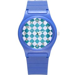 Square2 White Marble & Teal Brushed Metal Round Plastic Sport Watch (s) by trendistuff