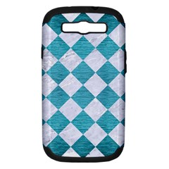 Square2 White Marble & Teal Brushed Metal Samsung Galaxy S Iii Hardshell Case (pc+silicone) by trendistuff