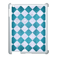 Square2 White Marble & Teal Brushed Metal Apple Ipad 3/4 Case (white) by trendistuff