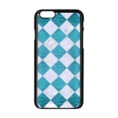 Square2 White Marble & Teal Brushed Metal Apple Iphone 6/6s Black Enamel Case by trendistuff
